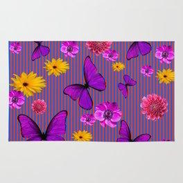 PURPLE BUTTERFLIES ASSORTED FLOWERS Rug