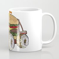 junk food Mugs featuring junk food car by immiggyboi90