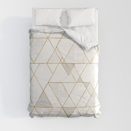 Mod Triangles Gold and white Comforters