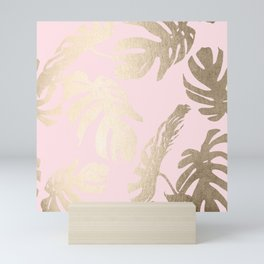 Simply Tropical Palm Leaves White Gold Sands on Flamingo Pink Mini Art Print