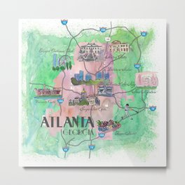 Atlanta Favorite Map with touristic Top Ten Highlights Metal Print