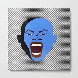 blue man head design digital art male face shouts zollione store art Metal Print