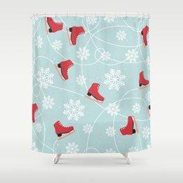Winter Ice Skating Shower Curtain