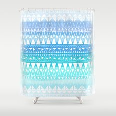Triangle Gradient Aqua Mix Shower Curtain