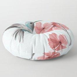 Hummingbird with Hibiscus Floor Pillow