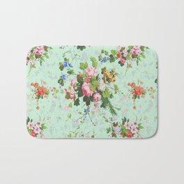 Antique romantic vintage 1800s Victorian floral shabby rose flowers pattern aqua mint hipster print Bath Mat