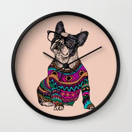 hipster frenchie Wall Clock