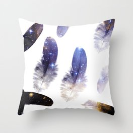 cosmic feathers Throw Pillow