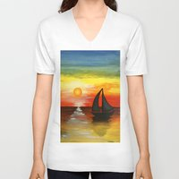 tequila V-neck T-shirts featuring Tequila Sunset by William Gushue