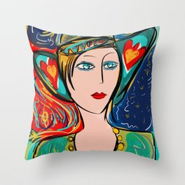 Pop Girl Art Deco with Hat and hearts Throw Pillow