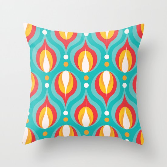Colorful Dewdrops Throw Pillow