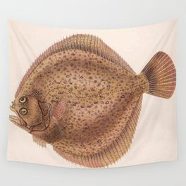 Vintage Flounder Fish Illustration (1919) Wall Tapestry
