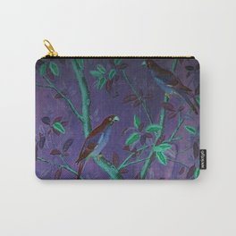 Aubergine & Teal Chinoiserie Carry-All Pouch