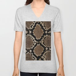 Faux Python Snake Skin Design Unisex V-Neck