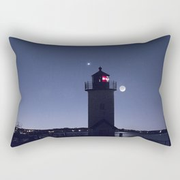 Moon Venus and the Annisquam Lighthouse Rectangular Pillow