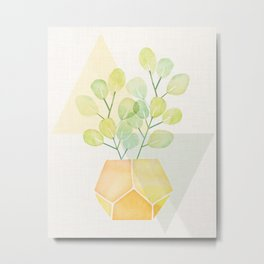 House Plant on Geometric Abstract Metal Print