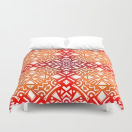 Tribal Tiles II (Red, Orange, Brown) Geometric Duvet Cover