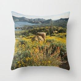 Arizona Spring Mountain Bloom Throw Pillow