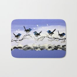 Purple Art with Gray Bath Mat