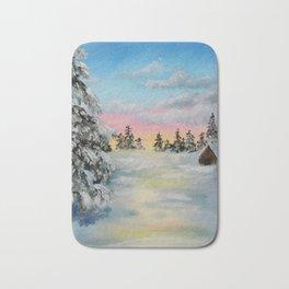 Winter Sunset Snow Scene Painting Bath Mat