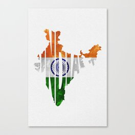 India World Map / Indian Typography Flag Map Art Canvas Print