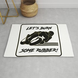 Lets Burn some Rubber! High Speed Motorcycle Racer White Caution Rug