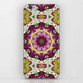 Daylily mandala 1, red-violet, cream and yellow iPhone Skin