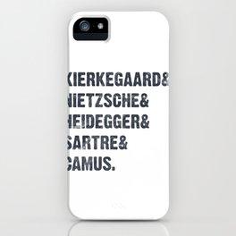 Vintage Philosophy Kierkegaard Nietzsche Heidegger Sartre Camus iPhone Case