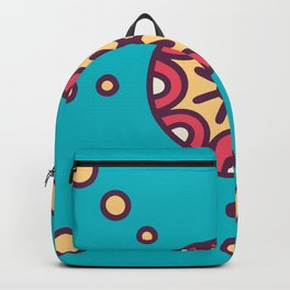 Tribal Boho Design Circle Pattern In Blue Backpack