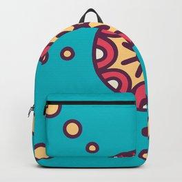 Tribal Boho Design Circle Pattern In Blue Backpack