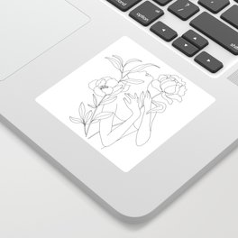 Minimal Line Art Woman with Peonies Sticker