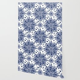 Abstract flower and blue beads Wallpaper