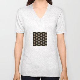 Textured Tan and Black Marble Geo Patterns Unisex V-Neck
