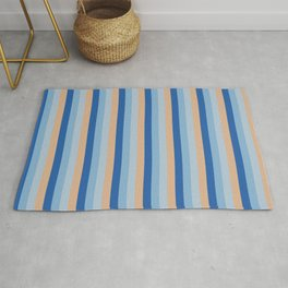 Classic Blue and Cappuchino Vertical Pinstripes Rug
