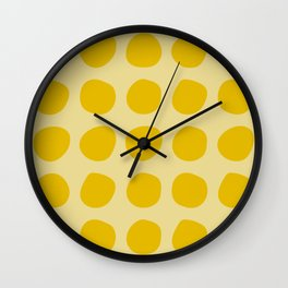 Irregular Polka Dots yellow Wall Clock