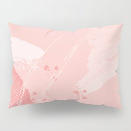 Kisses: a pretty abstract mixed media piece in pink and blue Pillow Sham