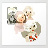 marilyn Art Prints featuring marilyn by loish