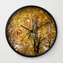 Golden Leaves Wall Clock