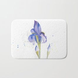 Watercolor Iris Bath Mat