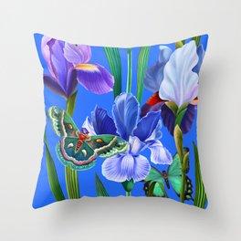 Summer garden with irises and butterflies Throw Pillow