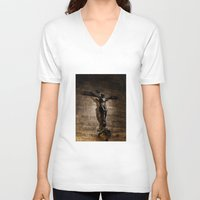 christ V-neck T-shirts featuring Jesus Christ by Villads Andersen