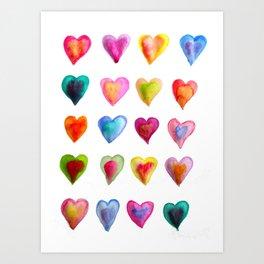 watercolour hearts colourful heart pattern Art Print