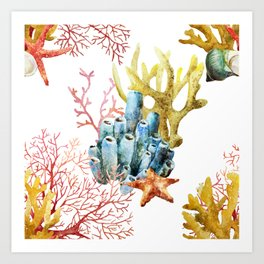 Sea Life Pattern 11 Art Print