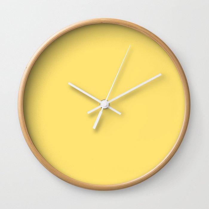 Plain Yellow Colour Wall Clock By Tafida Society6