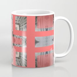 Living Coral Pantone Colour of the Year 2019 pattern decoration with neoclassical architecture Coffee Mug