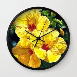Yellow Hibiscus #18 Wall Clock