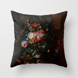 """Rachel Ruysch """"Roses, Convolvulus, Poppies, and Other Flowers in an Urn on a Stone Ledge"""" Throw Pillow"""