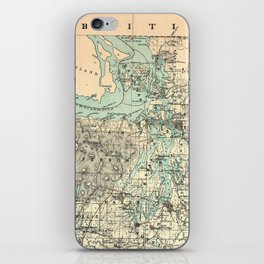 Vintage Map of The Puget Sound (1883) iPhone Skin