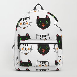 smiling cats black and white minimal design Backpack