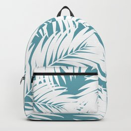 Palm Tree Fronds White on Soft Blue Hawaii Tropical Décor Backpack